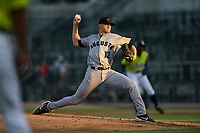 Starting pitcher Keaton Winn (12) of the Augusta GreenJackets delivers a pitch in a game against the Columbia Fireflies on Friday, May 31, 2019, at Segra Park in Columbia, South Carolina. Augusta won, 8-6. (Tom Priddy/Four Seam Images)
