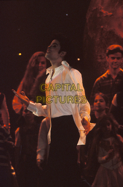 MICHAEL JACKSON.The World Music Awards,.Monte Carlo, 8th May 1996.stage gig music concert white shirt black trousers half length .www.capitalpictures.com.sales@capitalpictures.com.©Capital Pictures