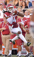 STAFF PHOTO BEN GOFF  @NWABenGoff -- 09/20/14 <br /> Arkansas wide receiver Keon Hatcher catches a pass during the first quarter of the game against Northern Illinois in Reynolds Razorback Stadium in Fayetteville on Saturday September 20, 2014.