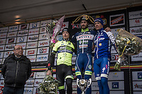 race winner Guillaume van Keirsbulck (BEL/Wanty-Groupe Gobert) winged on the podium by:<br /> 2/ Alex Kirsch (LUX/WB Veranclassic - Aqua Protect)<br /> 3/ Iljo Keisse (BEL/QuickStep Floors)<br /> <br /> GP Le Samyn 2017 (1.1)