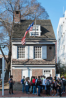 Home of Betsy Ross, maker of the first American Flag, Betsy Ross House, National Shrine ,239 Arch St. , Philadelphia, Pennsylvania, USA