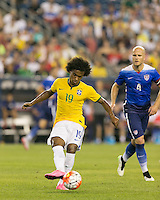 Foxborough, Massachusetts - September 8, 2015: First half action. In an international friendly match, USMNT (blue) vs Brazil (yellow/white), 1-0 (halftime), at Gillette Stadium.