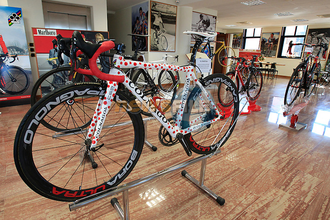 Anthony Charteau's bike on display in the Colnago Museum and factory in Cambiago on the outskirts of Milan, Italy,15th March 2013. (Photo Eoin Clarke/www.newsfile.ie)