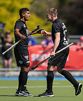 Blacksticks players celebrate a goal during the Olympic Qualifier Hockey match between the Blacksticks Men and Korea at TET Multisport Centre in Stratford, New Zealand on Saturday, 2 November 2019. Photo: Simon Watts / www.bwmedia.co.nz