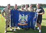 Rangers army visit in Germany - Ally McCoist and KennyMcDowall with members of the Royal Scots Dragoon Guards