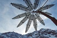Switzerland. State of Ticino. Airolo. A metal palm tree on  Peschün ski resort. © 2005 Didier Ruef