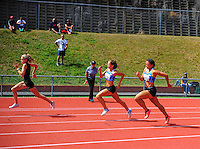Action from the youth women's 200m final on day three of the 2015 National Track and Field Championships at Newtown Park, Wellington, New Zealand on Sunday, 8 March 2015. Photo: Dave Lintott / lintottphoto.co.nz