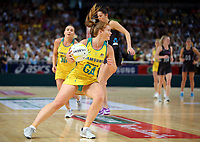 14.10.2017 Australia's Stephanie Wood in action during the Constellation Cup netball match between the Silver Ferns and Australia at QudosBank Arena in Sydney. Mandatory Photo Credit ©Michael Bradley.