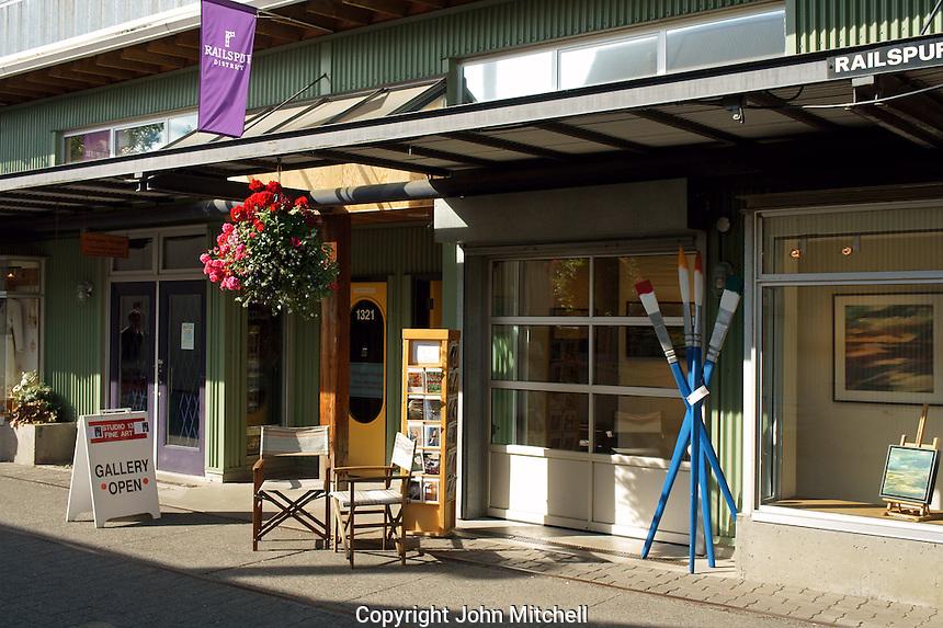 Art gallery on Railspur Alley, Granville Island, Vancouver, British Columbia, Canada