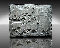 Picture & image of a Neo-Hittite orthostat showing Sacrificial animals being led from Alacahöyük, Alaca Çorum Province, Turkey. An Ankara Museum of Anatolian Civilizations exhibit.