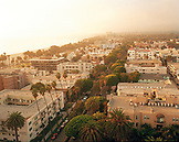 USA; California; Santa Monica; Beach Town; Fog; Palm Trees; Buildings; Los Angeles; High Angle; View; Coastline; Coastal; Vertical; Brown Cannon