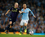 Davy Klaassen of Everton tussles with David Silva of Manchester City during the Premier League match at the Eithad Stadium, Manchester. Picture date 21st August 2017. Picture credit should read: Simon Bellis/Sportimage