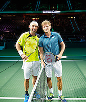 Rotterdam, The Netherlands, Februari 9, 2016,  ABNAMROWTT, Marcos Baghdatis (CYP), David Goffin (BEL)<br /> Photo: Tennisimages/Henk Koster