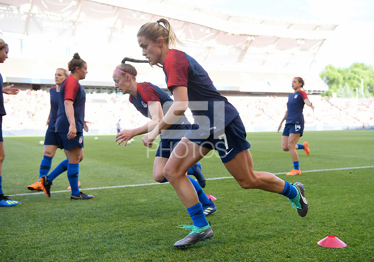 Sandy, Utah - Thursday June 07, 2018: Abby Dahlkemper, Becky Sauerbrunn during an international friendly match between the women's national teams of the United States (USA) and China PR (CHN) at Rio Tinto Stadium.