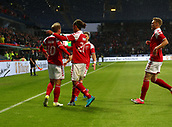 June 6th 2017, Brondby Stadium, in Brondby, Copenhagen, Denmark;  Denmark's Christian Eriksen (L), who scored the goal for 1:0, celebrates with teammates during the international soccer match between Denmark and Germany at the Brondby Stadium