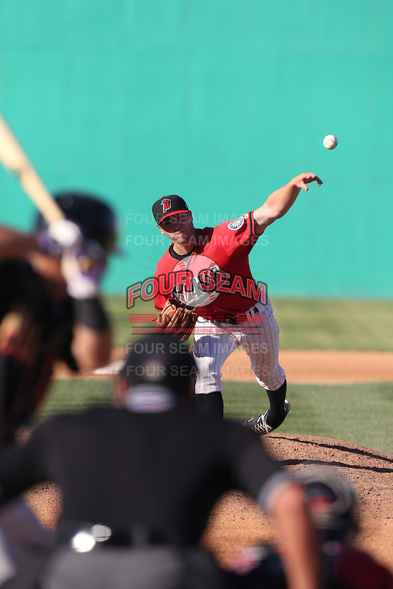 Scott DeCecco #32 of the High Desert Mavericks pitches against the Modesto Nuts at Heritage Field on June 29, 2014 in Adelanto, California. High Desert defeated Modesto, 6-1. (Larry Goren/Four Seam Images)
