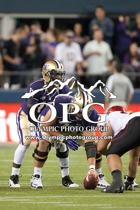 Sept 01, 2012:  Washington's #17 Keith Price against San Diego State.  Washington defeated San Diego State 21-12 at CenturyLink Field in Seattle, Washington...