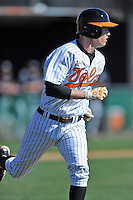 Tennessee Volunteers shortstop A.J. Simcox #10 runs to first during a game against the UNLV Runnin' Rebels at Lindsey Nelson Stadium on February 22, 2014 in Knoxville, Tennessee. The Volunteers defeated the Rebels 5-4. (Tony Farlow/Four Seam Images)