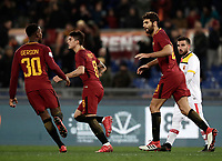 Calcio, Serie A: AS Roma - Benevento, Roma, stadio Olimpico, 11 gennaio 2018.<br /> Roma's Federico Fazio (r) celebrates with his teammates after scoring during the Italian Serie A football match between AS Roma and Benevento at Rome's Olympic stadium, February 11, 2018.<br /> UPDATE IMAGES PRESS/Isabella Bonotto