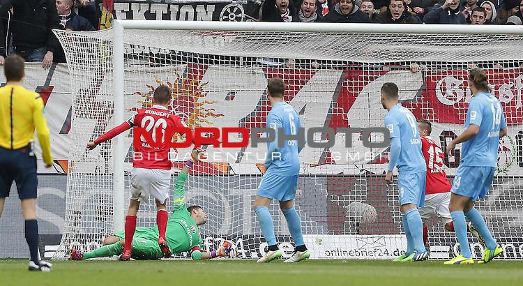 21.02.2015, Coface-Arena, Mainz, 1. Liga  2014/2015, 22. Spieltag R&uuml;ckrunde, 1. FSV Mainz 05 vs. Eintracht Frankfurt<br /> Johannes Geis (FSV Mainz 05) erzielt das 2:1<br /> Foto &copy; nordphoto /  Bratic