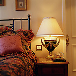 The historic Driskill Hotel, Rm # 531, Austin, TX, features ornate lamps and luxury bedding.