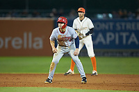 KJ Harrison (8) of the Hagerstown Suns takes his lead off of second base against the Greensboro Grasshoppers at First National Bank Field on April 6, 2019 in Greensboro, North Carolina. The Suns defeated the Grasshoppers 6-5. (Brian Westerholt/Four Seam Images)