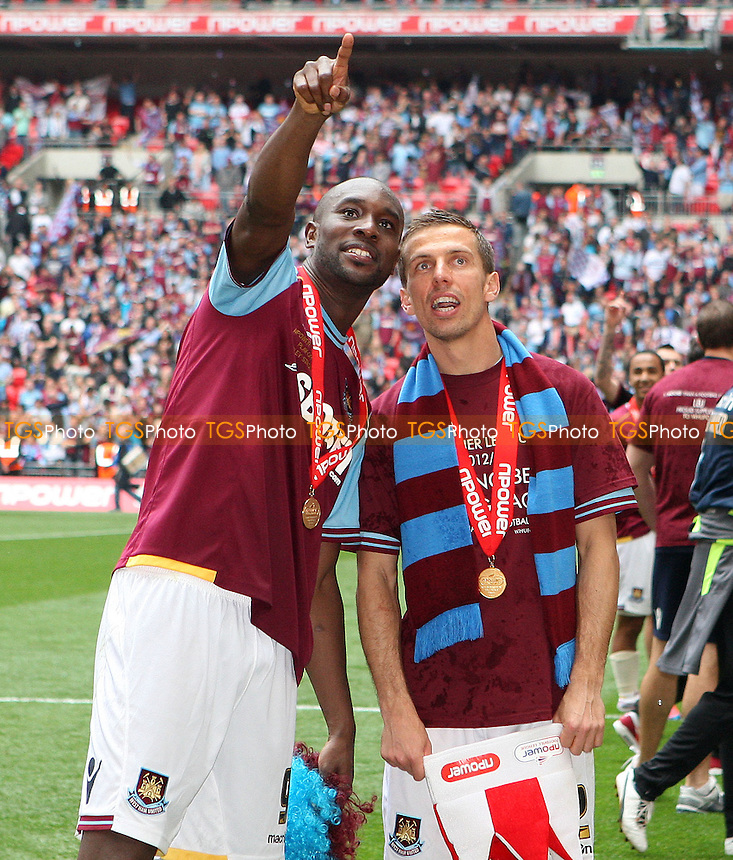 Carlton Cole and Gary O'Neil of West Ham celebrate at the end of the game - Blackpool vs West Ham United , npower Championship Play-off Final at Wembley Stadium, London - 19/05/12 - MANDATORY CREDIT: Rob Newell/TGSPHOTO - Self billing applies where appropriate - 0845 094 6026 - contact@tgsphoto.co.uk - NO UNPAID USE..