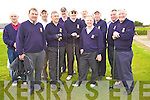 Members of the Killarney Golf Club Team who took part in the Dr. Billy O'Sullivan Shield at Ballyheigue Castle Golf Club on Saturday were l/r Tim Kelliher, Johnny O'Connor(Capt.), Tim O'Donoghue, Joe Scally, Der Brosnan, Bernard O'Connell, Pat Moynihan, Mike Leahy, Jimmy Kelly, Ger Brosnan and Seamus Galvin........................................................................................................................................................................................................................................................ ............