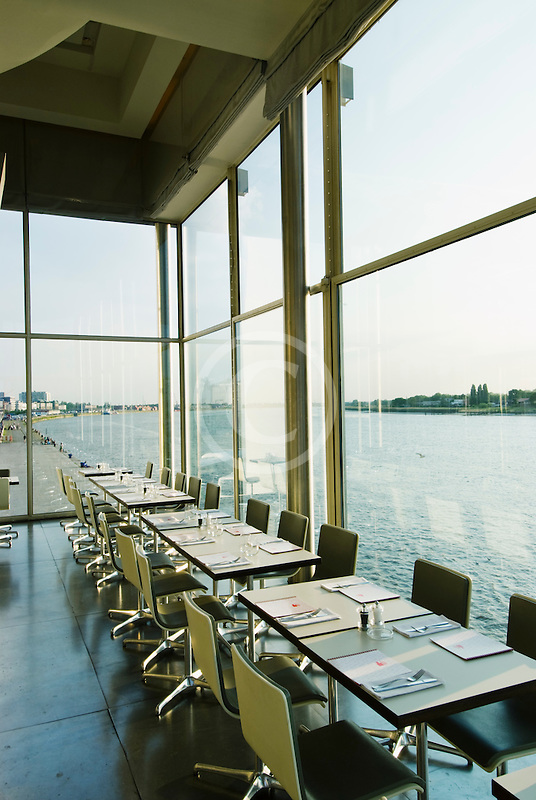Belgium, Antwerp, Zuiderterras restaurant overlooking the River Schelde