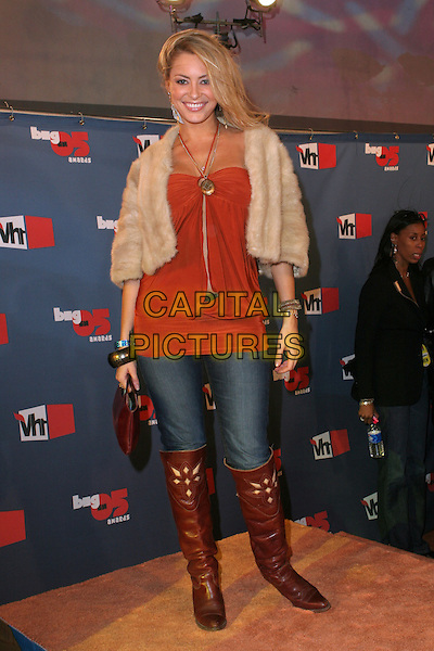 "BOBBI SUE LUTHER.""VH1 Big In '05 Awards"" - Arrivals held at Sony Studios, Culver City, California..December 3rd, 2005.Photo: Zach Lipp/AdMedia/Capital Pictures.Ref: ZL/ADM.full length jeans denim tucked into brown boots orange top fur coat.www.capitalpictures.com.sales@capitalpictures.com.© Capital Pictures."