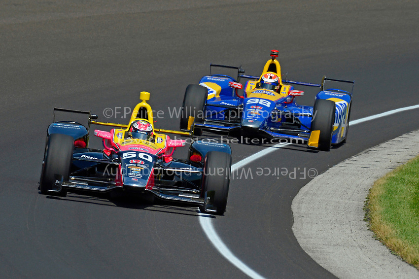 Verizon IndyCar Series<br /> Indianapolis 500 Carb Day<br /> Indianapolis Motor Speedway, Indianapolis, IN USA<br /> Friday 26 May 2017<br /> Jack Harvey, Michael Shank Racing with Andretti Autosport Honda, Alexander Rossi, Andretti Herta Autosport with Curb-Agajanian Honda<br /> World Copyright: F. Peirce Williams