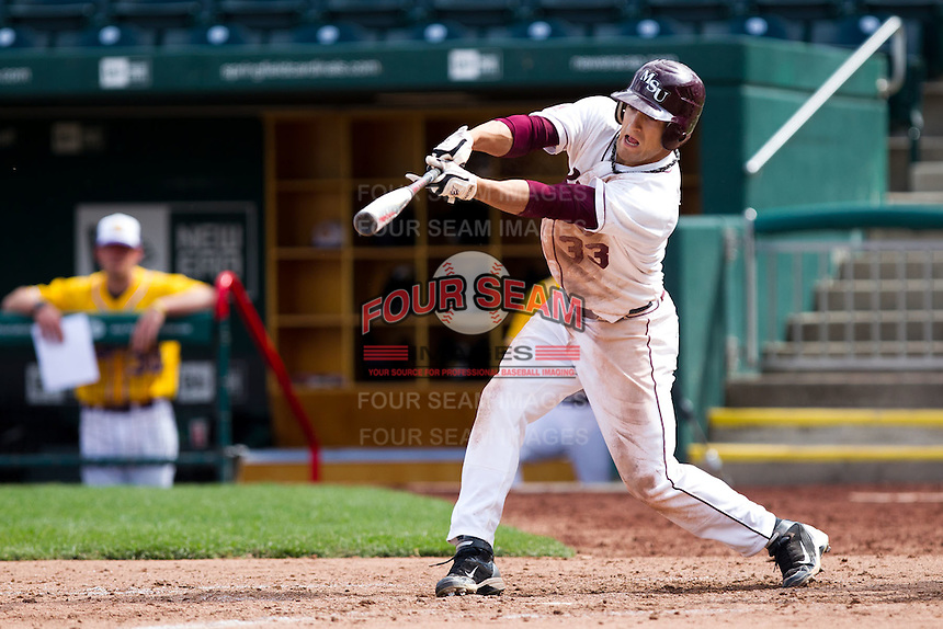 Spiker Helms (33) of the Missouri State Bears during a game vs. the Western Illinois Leathernecks at Hammons Field in Springfield, Missouri;  March 20, 2011.  Photo By David Welker/Four Seam Images