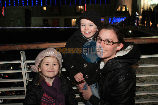 Georgia, Thomas and Ruth as Santa arrives at Scotch Hall...(Photo credit should read Jenny Matthews www.newsfile.ie)....This Picture has been sent you under the conditions enclosed by:.Newsfile Ltd..The Studio,.Millmount Abbey,.Drogheda,.Co Meath..Ireland..Tel: +353(0)41-9871240.Fax: +353(0)41-9871260.GSM: +353(0)86-2500958.email: pictures@newsfile.ie.www.newsfile.ie.