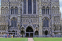 Salisbury: Salisbury Cathedral--West Front. Photo '90.