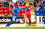 St Johnstone v Real Valladolid....07.08.10  Pre-Season Friendly.Marcus Haber and Jorge Alonso.Picture by Graeme Hart..Copyright Perthshire Picture Agency.Tel: 01738 623350  Mobile: 07990 594431