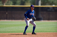 Texas Rangers shortstop Chris Seise (59) during an Instructional League game against the San Diego Padres on September 20, 2017 at Peoria Sports Complex in Peoria, Arizona. (Zachary Lucy/Four Seam Images)