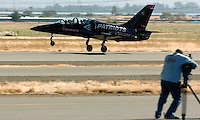 Oct 08, 2004 - WALNUT CREEK, CA, USA - An L-39 jet lifts off the runway at Byron Airport in Byron, Calif., Friday Oct. 8, 2004. This jet and others from the Byron based aerobatic team will perform during the Fleet Week air show over the San Francisco Waterfront this weekend..(Credit Image: © Alan Greth)