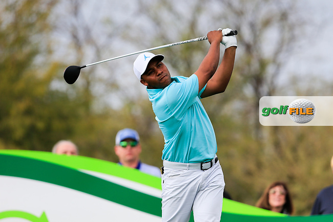 Harold Varner III (USA) on the 9th tee during the 3rd round of the Waste Management Phoenix Open, TPC Scottsdale, Scottsdale, Arisona, USA. 02/02/2019.<br /> Picture Fran Caffrey / Golffile.ie<br /> <br /> All photo usage must carry mandatory copyright credit (&copy; Golffile | Fran Caffrey)