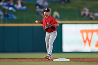 Springfield Cardinals Irving Lopez (11) throws to first base during a Texas League game against the Frisco RoughRiders on May 4, 2019 at Dr Pepper Ballpark in Frisco, Texas.  (Mike Augustin/Four Seam Images)