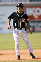 Matt Cavagnaro (1) of the Hickory Crawdads takes his lead of of second base at L.P. Frans Stadium in Hickory, NC, Sunday, May 4, 2008.