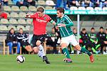 28.08.2019, Stadion Lohmühle, Luebeck, GER, Regionalliga Nord VFB Lübeck/Luebeck vs Hannover 96 II <br /> <br /> <br /> DFB REGULATIONS PROHIBIT ANY USE OF PHOTOGRAPHS AS IMAGE SEQUENCES AND/OR QUASI-VIDEO.<br /> <br /> im Bild / picture shows<br /> Niklas Tarnat (Hannover 96 II) im Zweikampf gegen Ahmet Arslan  (VfB Luebeck)<br /> <br /> Foto © nordphoto / Tauchnitz