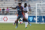 01 June 2016: Carolina's Matt Watson (ENG) (8) and Charlotte's Brian Brown (JAM) (right). The Carolina RailHawks hosted the Charlotte Independence at WakeMed Stadium in Cary, North Carolina in a 2016 Lamar Hunt U.S. Open Cup third round game. The RailHawks won 5-0 after extra time after regulation ended in a 0-0 tie.