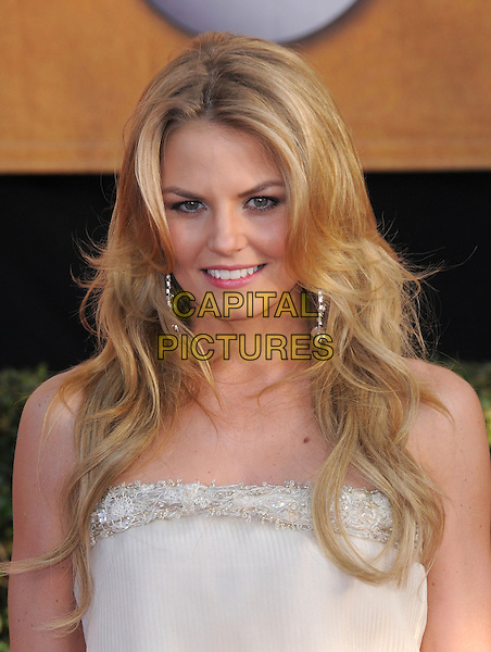 JENNIFER MORRISON.The 15th Annual Screen Actor's Guild Awards held at The Shrine Auditorium in Los Angeles, California, USA..January 25th, 2009.SAG arrivals headshot portrait white grey gray cream beaded beaded silver .CAP/DVS.©Debbie VanStory/Capital Pictures.