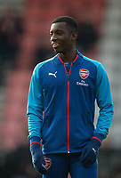Edward 'Eddie' Nketiah of Arsenal warms up pre match during the Premier League match between Bournemouth and Arsenal at the Goldsands Stadium, Bournemouth, England on 14 January 2018. Photo by Andy Rowland.