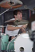 Cyrus Bolooki (drums) of New Found Glory performs at Darien Lakes Performing Arts Center in Darien Center, New York circa August 2002.  Photo Copyright Mike Janes Photography
