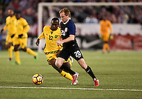Chattanooga, TN - February 3, 2017: The U.S. Men's National team and Jamaica are even 0-0 in first half action during an international friendly match at Finley Stadium.