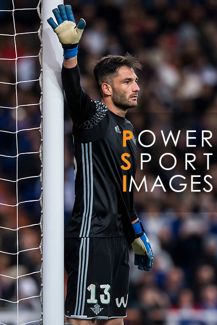 Goalkeeper Antonio Adan of Real Betis in action during their La Liga match between Real Madrid and Real Betis at the Santiago Bernabeu Stadium on 12 March 2017 in Madrid, Spain. Photo by Diego Gonzalez Souto / Power Sport Images