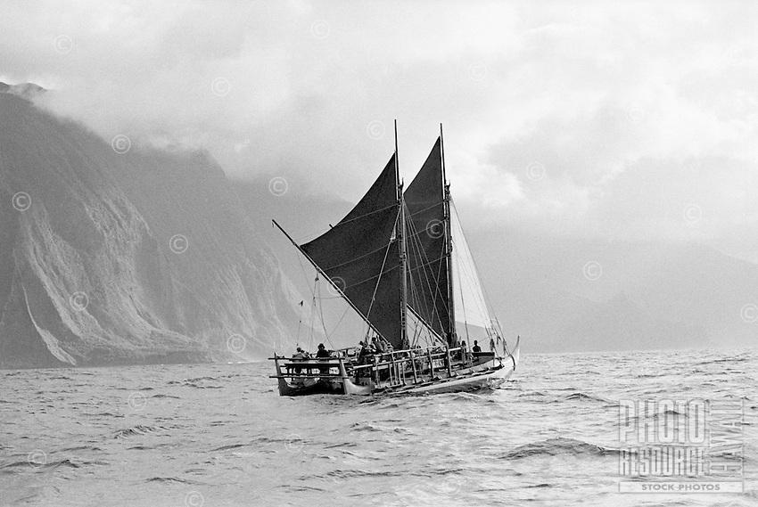 Polynesian voyaging canoe Hokule'a, north shore of Moloka'i, May 30, 1997.