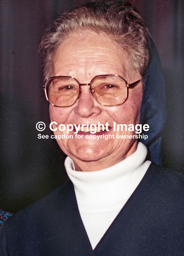 Sister Genevieve, headmistress, St Louise's Secondary School, Falls Road, Belfast, N Ireland, UK, born Mary O'Farrell,Tullamore, Co Offaly, 22nd March 1923, died 2001. 198811170123<br />