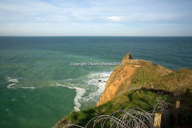 Pointe du Hoc, a promontory between Utah Beach and Omaha Beach, Normandy, France.
